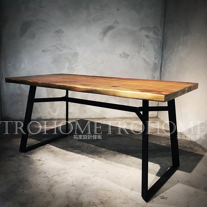 【拓家工業風家具】可訂製~造型扁腳實木桌/LOFT長桌辦公桌萬用桌工作桌多人桌/北歐自然邊咖啡店民宿會議桌餐桌餐椅
