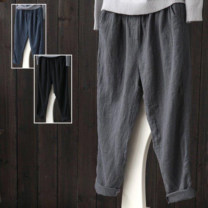 (老銀屋)秋裝新款棉麻鬆緊腰休閒褲/九分褲