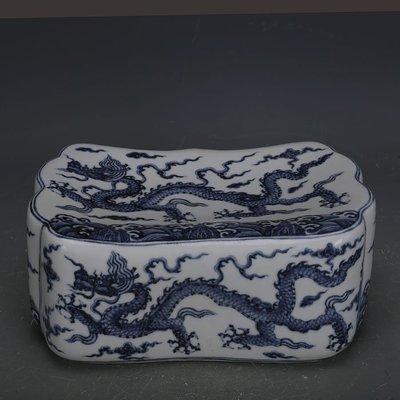 ㊣姥姥的寶藏㊣ 大明宣德手繪青花海水龍紋瓷枕  官窯文物 古瓷器古玩收藏擺件