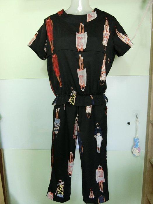 【二手哺乳衣】👍 產後外出哺乳衣套裝 夏季短袖上衣寬鬆 兩件套餵奶衣 時尚休閒服 黑色 2XL