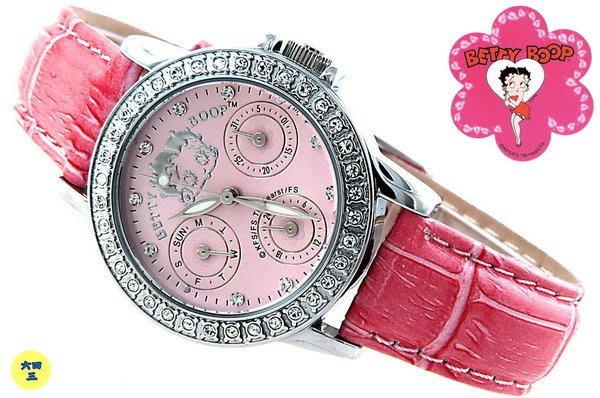 (六四三精品)BETTY BOOP(真品)粉紅錶面外框晶鑽鑽錶.三眼六針功能.日期.星期.24小時