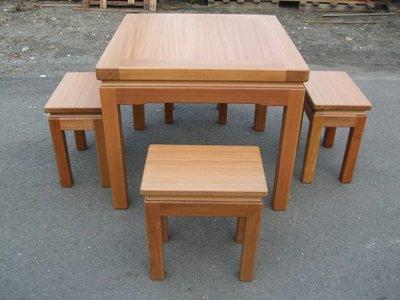 A041 {崙頂傳統原木家具行}~邊框實木餐桌配實木椅跟 接受訂作 訂色