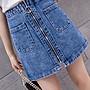 拉鏈牛仔裙夏新款大碼女裝胖mm100公斤修身高腰顯瘦半身裙洋氣短裙