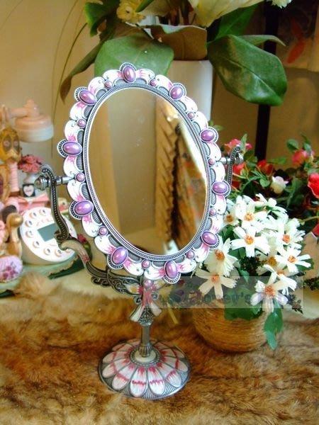 682臺式 桌上型雙面鏡 化妝鏡 梳妝鏡子 情人節 送禮 自用 歐式古典橢圓鏡面古錫色
