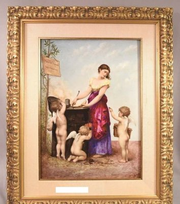 手繪 稀有 瓷畫   愛神的菜單   賣16萬