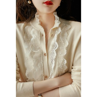 XG 寶藏仙美 蕾絲拼接羊毛針織衫