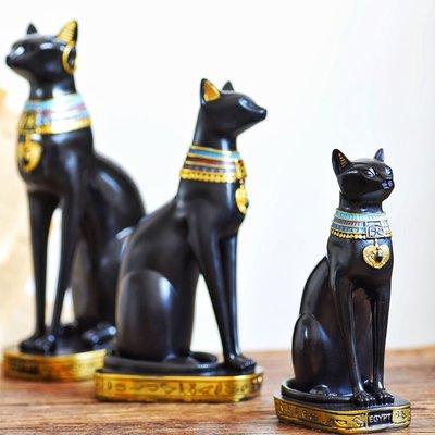 優生活~JK慕空間 復古美式埃及神貓套裝左面擺件 守護神客廳玄關裝飾