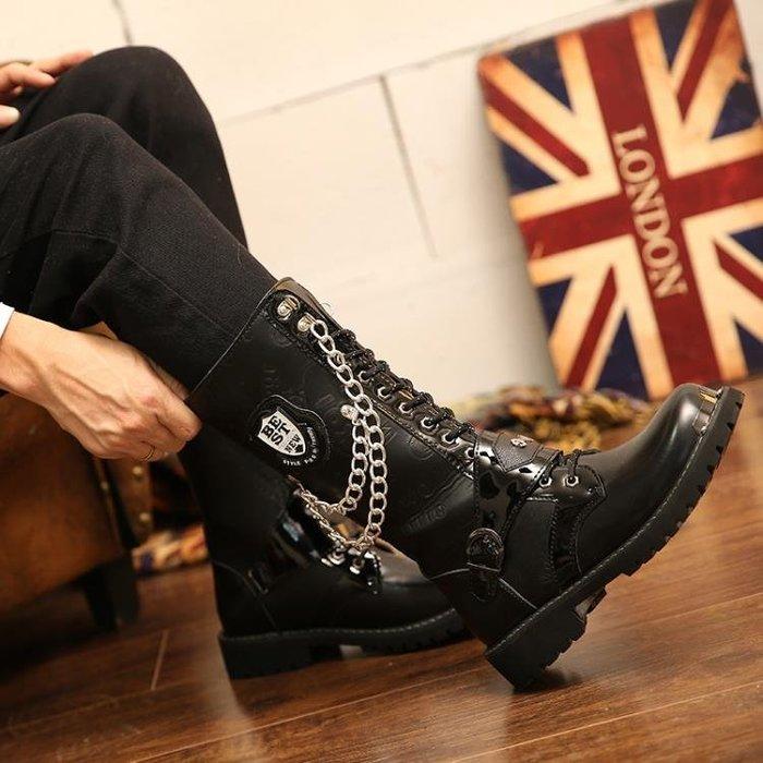 半島鐵盒 男靴 夏季百搭長靴朋克靴子韓版大碼馬丁靴演出高筒靴軍靴