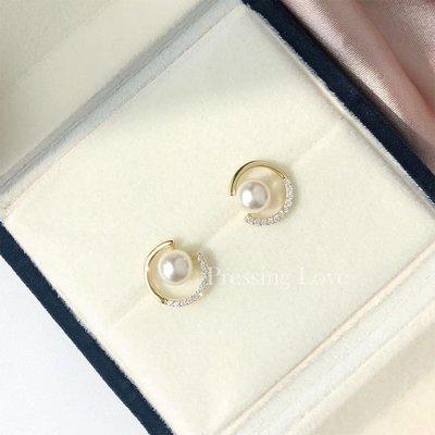 「尤嘉小鋪」 PRESSING LOVE氣質珍珠耳釘女純銀925高級感設計簡約式大氣閃鉆耳環H6M59