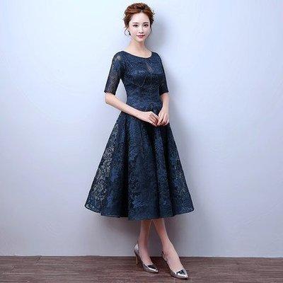 【曼妮婚紗禮服】3件免郵~結婚婚宴禮服 聚會 蕾絲修身顯瘦中長款禮服 CF057