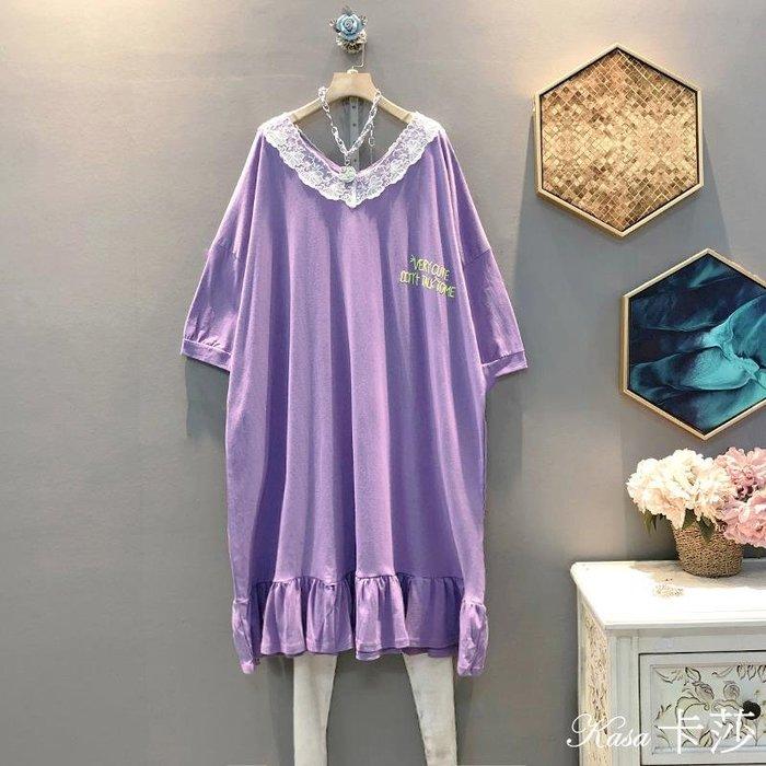 時尚大碼♥大碼氣質刺繡字母拼接蕾絲V領中長款連身裙