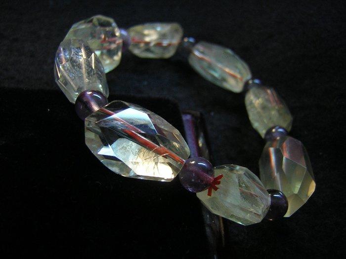 【采鑫坊】清料黃水晶手鍊~原汁原味原礦鑽石切割拋光品《直購品》~