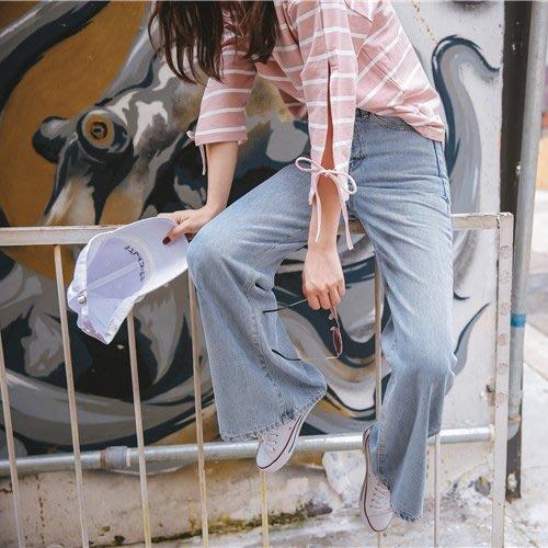 周董的店 顯瘦丹寧現貨供應 高腰寬褲管牛仔長褲