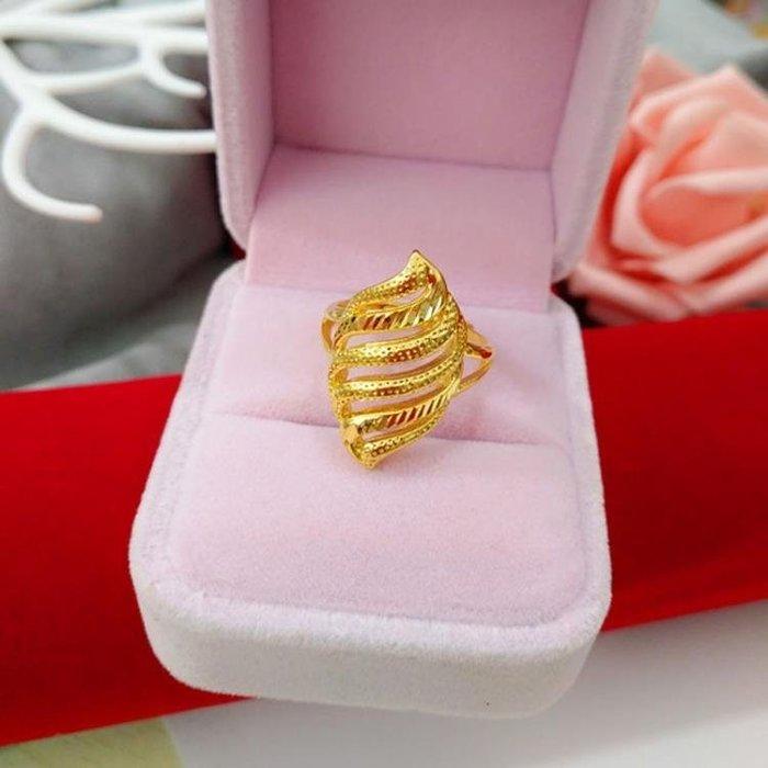 鍍金戒指 仿沙金指環鍍24k黃金活口可調節百搭愛心女士配飾品