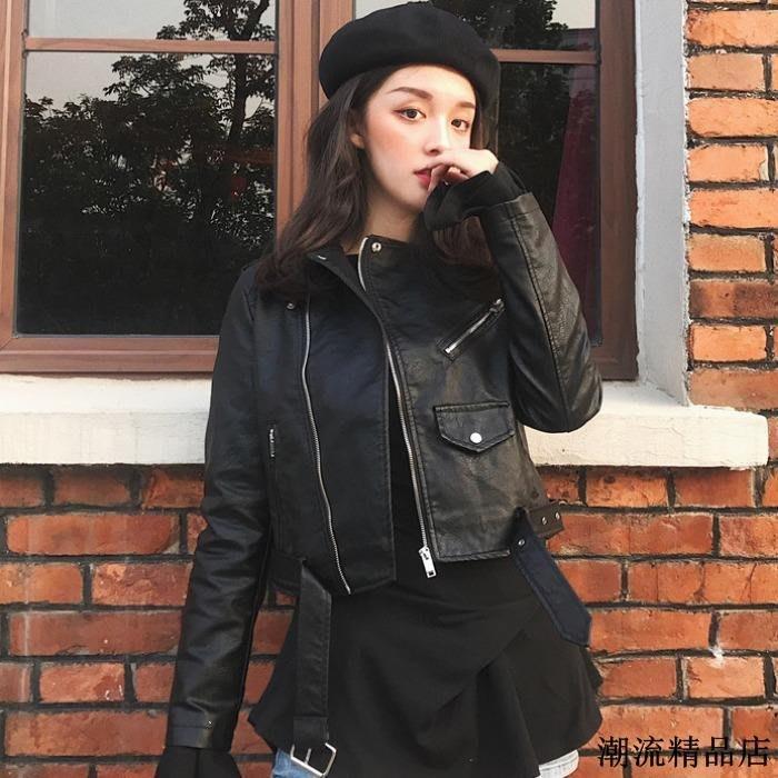 pu皮夾克上衣春季新款韓版帥氣女生機車服氣質修身高腰短外套