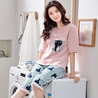 【蘑菇小隊】睡衣女夏純棉短中袖五分褲套裝甜美可愛韓版清新學生少女家居服夏-MG22902