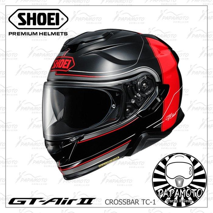 【趴趴騎士】SHOEI GT-AIR II CROSSBAR TC-1 (全罩安全帽 內墨片 GTAIR 2 黑紅