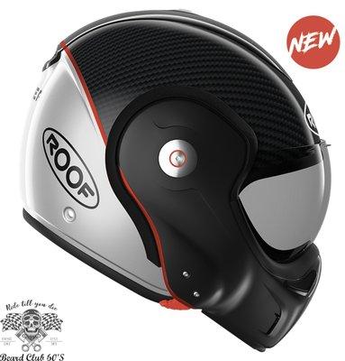 ♛大鬍子俱樂部♛ ROOF ® Boxxer Carbon 法國 復古 碳纖維 街車 多功能 掀蓋 全罩 安全帽 黑/銀
