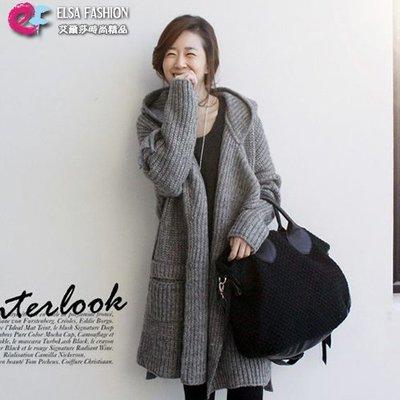 針織外套毛衣外套 簡約腰繫帶連帽毛衣外套 艾爾莎【TAE6242】