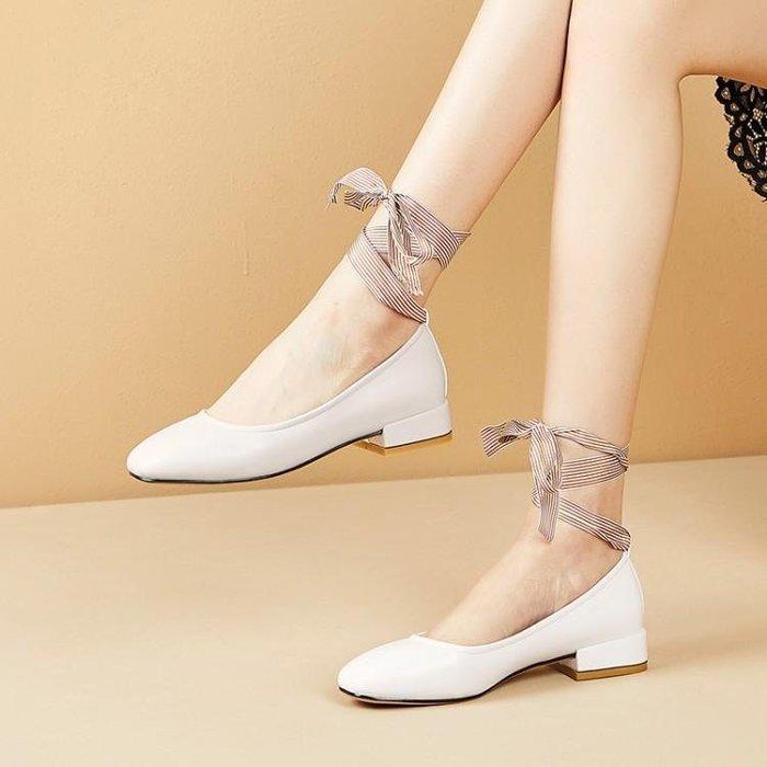 『紫藤花園』秋季兩穿奶奶鞋單鞋女2019新款平底百搭淺口綁帶芭蕾套腳網紅涼鞋A16