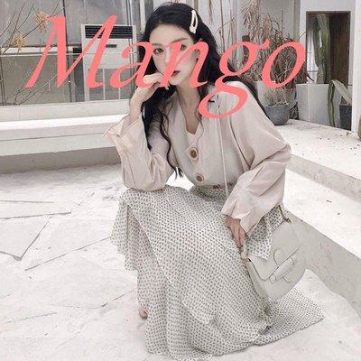 【Mango】春季設計感上衣氣質長袖寬松襯衣高腰半身裙時尚套裝網紅兩件套女
