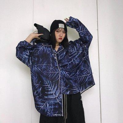 kuosey UN 袖口領口包邊復古藍幾何圖案襯衫長袖港風襯衣設計感小眾外套