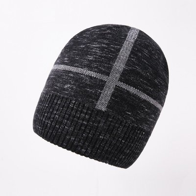 毛帽 羊毛針織帽-十字提花捲邊休閒男帽子2色73wj26[獨家進口][米蘭精品]