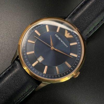 ARMANI阿曼尼男女通用錶,編號AR00004,44mm玫瑰金圓形精鋼錶殼,寶藍色簡約錶面,寶藍真皮皮革錶帶款