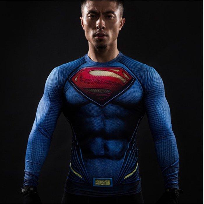 任二件免運 正義聯盟 超人 長袖T桖 緊身衣 S~4XL 大尺寸 LL6