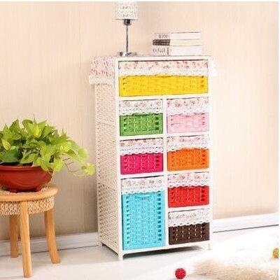 【優上】宜家草編收納櫃抽屜式多層兒童寶寶衣櫃 籐編床頭櫃床邊櫃「彩色8抽」