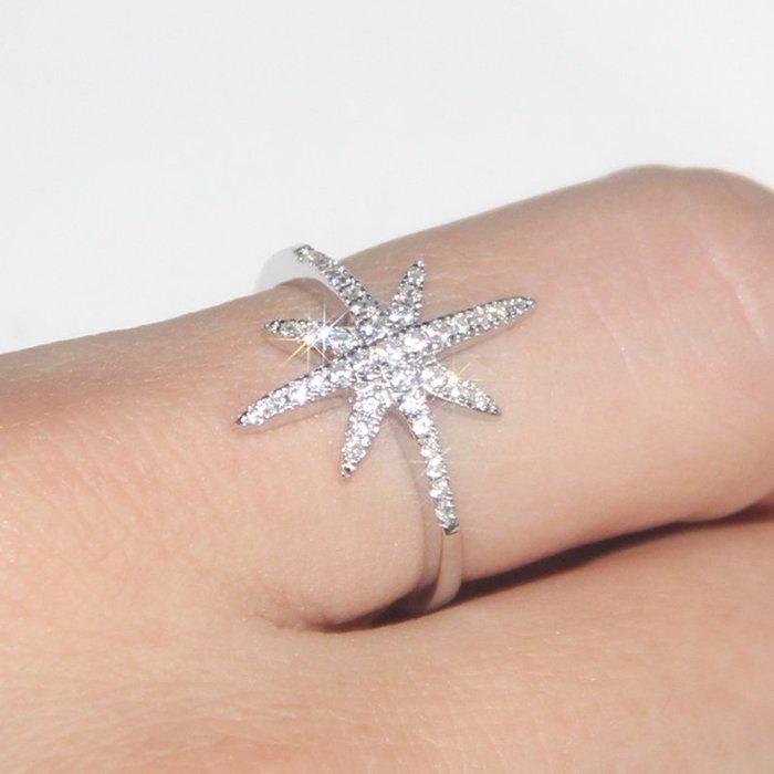 乾一Jams apm日韓s925純銀戒指女士鑲晶鉆米字星星指環簡約尾戒個性潮