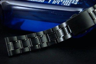 **20mm黑色真空離子電鍍sea master 海馬風格不鏽鋼製錶帶非烤漆,seiko, citizen, nixon