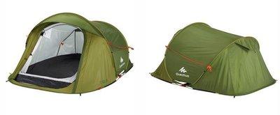 2# 史上最輕便 快開快收 2人帳篷,快速全自動帳篷雙層內外帳/雙人露營/登山/郊遊烤肉探險避難求生,快速折疊,藍 綠