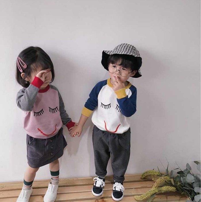【小阿霏】兒童長袖針織衫 女童男童睫毛笑臉撞色T 春秋針織上衣 2-8歲尺碼CL19