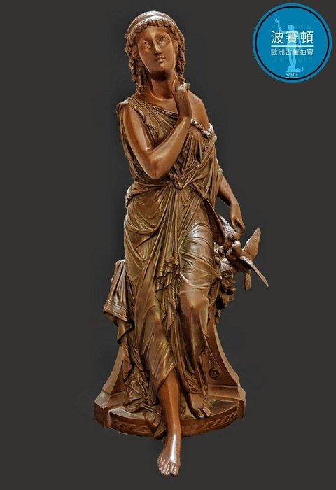 【波賽頓-歐洲古董拍賣】歐洲/西洋古董 法國古董 19世紀 女士與白鴿 純青銅銅雕(原作非複刻版)(高40X寬15X深17cm,重約6kg)(年份:1846年)