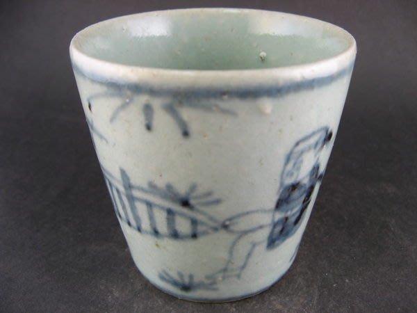 ~順治爺~k842號《早期收藏瓷器》~青花人物~老瓷杯~@299元起標