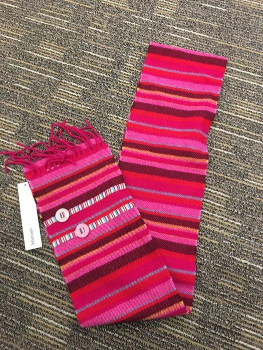 喬瑟芬【JOHNSTONS】出清特價$2200~橫條漸層糖果色羊毛圍巾~Made in Scotland