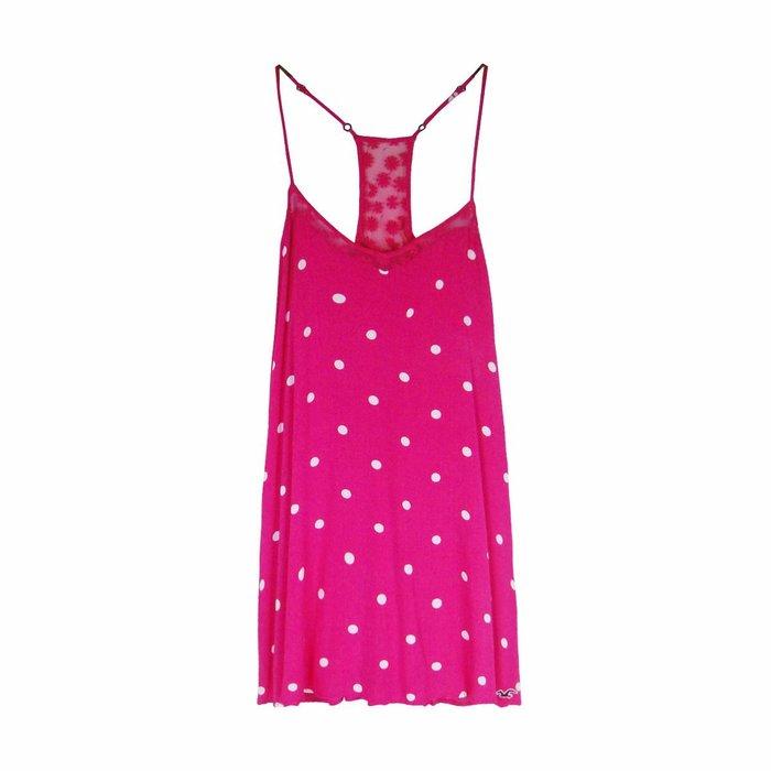 【HOLLISTER Co.】【HCO】【零碼S】HC女款洋裝白點網細肩桃紅 F04150527-02