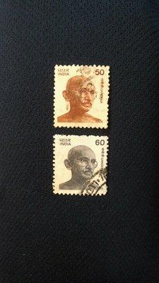 {早期} 印度 甘地郵票 (兩張) 附贈:早期印度推廣,兩個孩子恰恰好👍