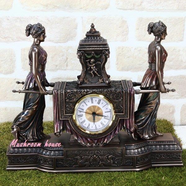 點點蘑菇屋{藝術時鐘擺飾}歐洲精品 古典巴洛克風格女子抬座鐘 桌鐘 免運費