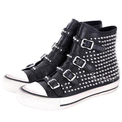 米蘭廣場 ASH VICIOUS 羊皮釦帶鉚釘高筒休閒鞋(黑色) 1541006-01
