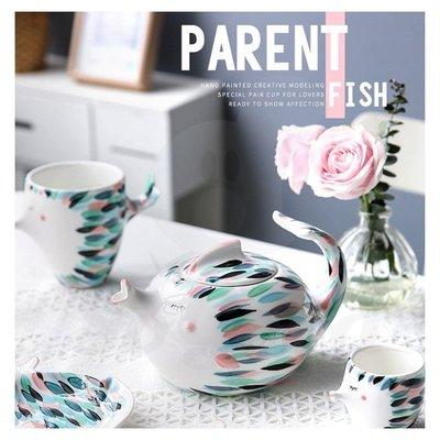 親親魚手繪陶瓷茶壺 創意盤子馬克杯茶杯茶具(11吋魚盤)_☆[好餐廳_SoGoods優購好]☆