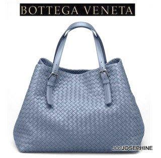 喬瑟芬【BOTTEGA VENETA】賠售特價~2013春夏*272154*灰藍經典大型編織購物包