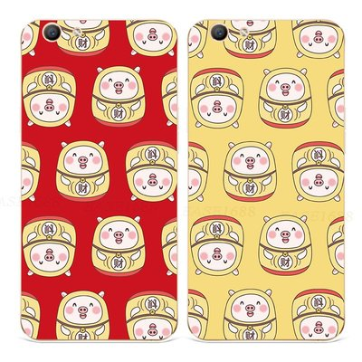 【海豚】小豬oppoa57手機殼a33a37a39a59s豬年過年a59s本命年f5f7f9f11軟
