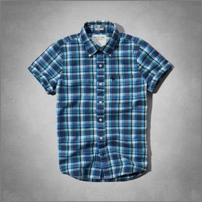 美國AMPM【現貨S136】AF, A&F Catamount Shirt 男版格紋短袖襯衫 S號