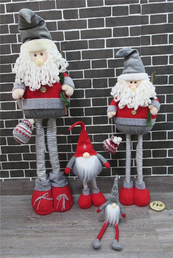 聖誕伸縮布藝公仔擺件兒童節日禮品布藝聖誕老人公仔擺飾聖誕熊仔