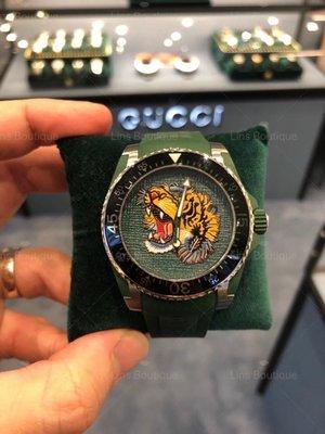 (Lins 英倫代購)Gucci 刺繡虎頭🐯 潛水錶 時尚錶