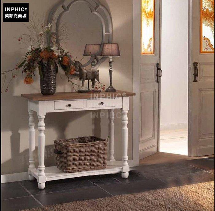INPHIC-法式鄉村實木復古刷舊玄關桌 邊桌_Y328