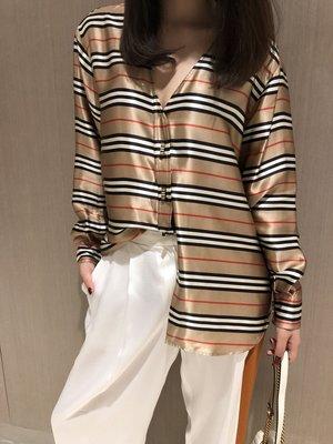 《巴黎拜金女》超美拼色橫條紋V領設計定制鈕扣真絲襯衣