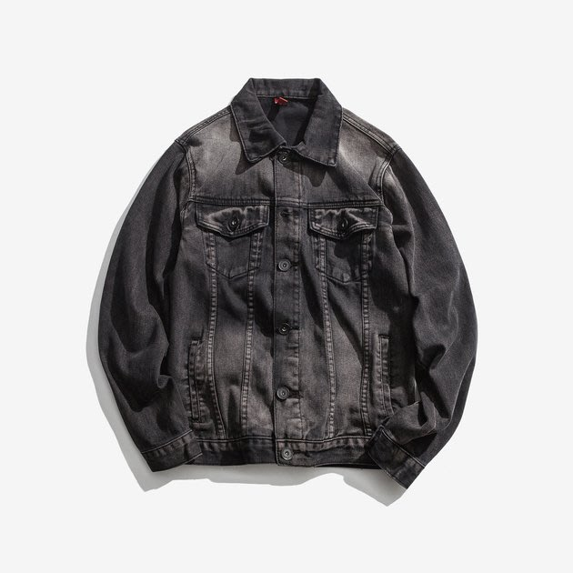 FINDSENSE 2019 秋季上新 黑色印字牛仔夾克長袖上衣 G7 男裝 外套 夾克